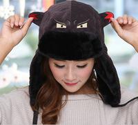 2014 New Fashion Winter Warmer Shark Print  Bomber Hats  Cotton Polyester Wool Fur For Women And Men Fur Ear Hats Hot Sale