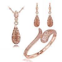 Fashion rose gold plated wedding jewelry set neclace+earring+bangle,rose gold plated fashion jewlery set