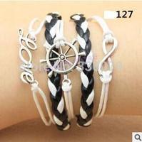 L0127 Hot New Fashion Girl Jewelry Vintage Helmsman Love Metal Leather Bracelets Multilayer Rope Bangle Wholesale