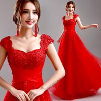 Red dress princess evening dress formal dress  long design evening dress  A087#
