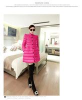 Free Shipping2014 bow slim long fluffy hem cotton padded coat jacket