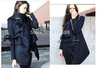 Free Shipping New Fashion 2014 Autumn and Winter New European Main Hook Temperament Slim Woolen Coat Windbreaker Jacket