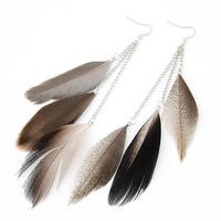 2015 Ladies Fashion Hot Sale Feather Ear Cuff Clip Long feather earrings Women Free shipping Z&E2086
