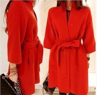New 2014 Fashion Wool Winter Coat Women Three Quarter Long Section Casual \ Woolen Coat  Blends