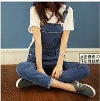 Free Shipping2014 loose strap custom personality big pocket denim pants Korean size bib Lady