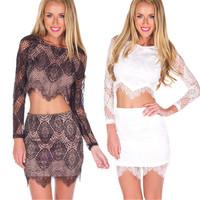vestidos de renda feminino 2014 Fashion Womens White Black Graceful Sexy Two-piece Lace Summer Dress Fashion Lady Clothing Set