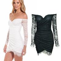 2 colors New 2014 Women casual Fashion sexy Club lace dress Long-sleeve Strapless Black Mini dresses vestido de festa