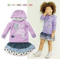2014 New Autumn girls clothing set Long Sleeve Letter Star printing Hooded hoodies + Star stripe Printing skirt girls clothes