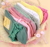 free shipping 3 pairs=1 lot free size woman women princess style lace edge medium thickness medium tube sock socks lady girl