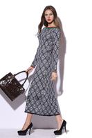 Free Shipping Fall 2014 Charming Long Sleeve Stretch Knit Pencil Long Dress  141108SW01