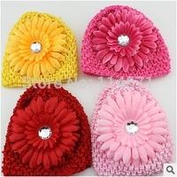 Free Shipping (10pcs/Lot) Baby Winter Hat Baby Daisy Caps Handmade Crochet Beanie knitted Hat +Daisy Flower Infants Winter Caps