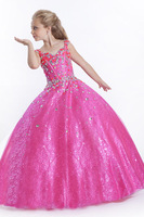 Pink shining Girl's Pageant Princess Girl's Formal Dresses children ball gowns