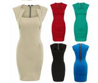 Ebay women's 2014 summer fashion square collar sleeveless zipper slim pencil one-piece dress
