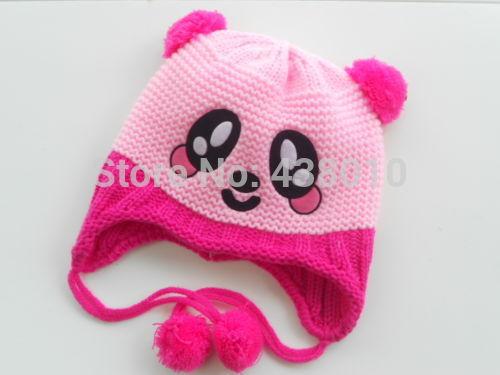 Младенческая малышей ручной вязания крючком младенца , шлем панда шляпа кепка с уха заслонки звериного стиля для девочки мальчик подарок