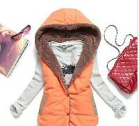 Free Shipping Women Trendy Elegant Winter Warm Cotton Vest Jacket Slim Velvet Thermal Down Hood All-match Outwear Coat