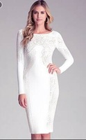 High Quality Women's HL white crystal long sleeve O neck backless Bandage Dress Cocktail Party Dress