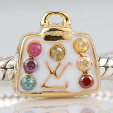 Purse Handbag 18K Gold Color 100 925 Sterling Silver Charm Bead Fits Pandora DIY European Bracelets