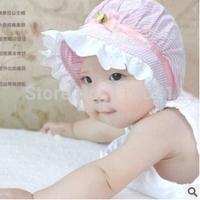 Free Shipping(10pcs/Lot) 2014 Hot Striped Baby Girls Hats / Cute Flower Decorate Cotton Baby Girls Hats Newborn Hat Sun Caps