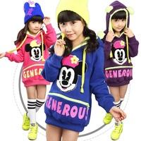 Children Clothing Girl Autumn Hoodies Korean Long Style Character Mickey Letters Printed Girls Hoodies Full Sleeve Hooded Hoody
