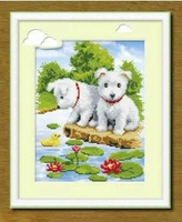 Free shipping Needlework 3D cross stitch kit TWO dogs