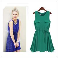 Fashion new arrival 2014 women's o-neck sleeveless loose casual chiffon one-piece dress