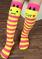 Promotion cat baby knee high socks striped kids leg warmer students ballet socks free shipping