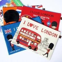 10pcs/lot I love London oxford fabric canvas a4 file bag portable expanding file large document holder free shipping