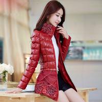 Women's wadded jacket 2014 autumn and winter slim women's medium-long PU wadded jacket outerwear