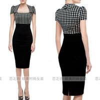 Ebay fashion autumn one-piece dress slit neckline short-sleeve high waist slim hip slim one-piece dress dr for ess