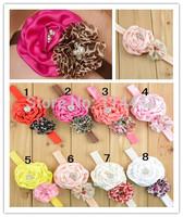 Free Shipping 12pcs/ lot 14 colors Rose fabric flowers with chiffon pearl rhinestones baby girl headband Accessary