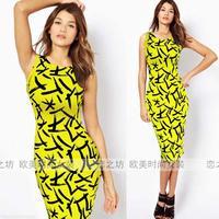 Fashion elegant elastic o-neck slim mid waist sleeveless pencil slim hip one-piece dress