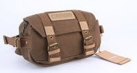 CaDen F0 Dark Brown Canvas Digital Camera Waist Pack Shoulder Sling Chest Bag for Canon Nikon Sony Evil Cameras