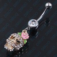 Free Shipping! 3D Sugar Skull Dangle Belly Ring Bar CZ Gold Sugar Skull Belly Ring 14G