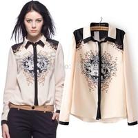 fashion woman blouse chiffon shirt,vintage regular floral print ladies blouse,blusas feminina blusa de gasa camisas de mujer,WTL