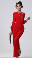 2014 spring and summer slim bodysuit pants red o-neck jumpsuit,women jumpsuit,women pants,S/M/L/XL/XXL