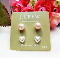 2014 Hotselling Wholesale JC Fashion pearl Stud Earrings Set Include 4 Pieces heart  Earrings  Korean Jewelry for women,B120