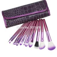 PRO 12 PCS Makeup Brushes Set With Purple Crocodile Pattern Case For Eyeshadow Blush Brush Makeup tools Free Shipping