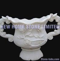 large garden pot white decorative marble carving stone beautiful flower pot