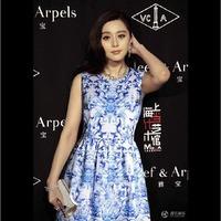 Free Shipping! Factory wholesale 2014 spring women's sleeveless chiffon dress european big brand blue and white porcelain