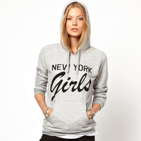 Free Shipping! Fashion women New York Girls pocket before printing gray hooded long-sleeved fleece sweatshirt in stock