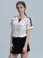 free Shipping 2014 Cotton Polyester Square Collar Geometric Lace Casual New Women Summer Short Top Blouse 07194
