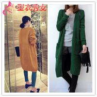 2014 autumn outerwear casual medium-long loose thin long-sleeve sweater female cardigan outerwear
