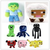 Free DHL/EMS Wholesale Minecraft Plush Toys Cartoon Minecraft Game Doll Creeper Enderman Pig Squid Mooshroom Sheep Ocelot Zombie