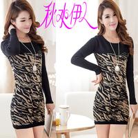 2014 autumn and winter medium-long sweater all-match o-neck long-sleeve basic slim one-piece dress