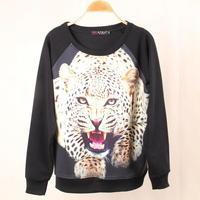 Blasting 3 d the lion tiger leopard grain character printing O neck Sweatshirt Fleece women tracksuit brand sport suits