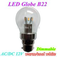 LED bulbs B22 10pcs/lot 6w LED globe light 6smd 5730 warm white/white lighting AC/DC12V with 360 degree free shipping