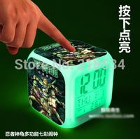 Teenage Mutant Ninja Turtles Cartoon LED 7 Colors Change Digital Alarm Clock Colorful Glowing TMNT 5pcs/lot