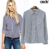 Women Blouses Rushed Chiffon 2014 Autumn New European And American Super Beautiful Temperament Cotton Pinstripe Shirt Wcs164321