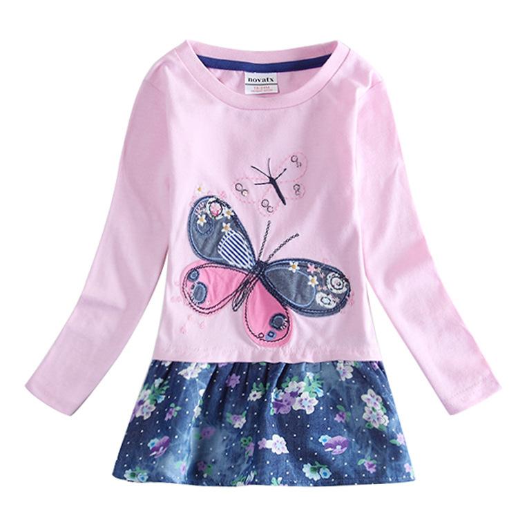 5pcs/lot Embroidered butterfly 100% cotton child clothes princess party dress baby girls Long sleeve kids nova tutu dresses(China (Mainland))