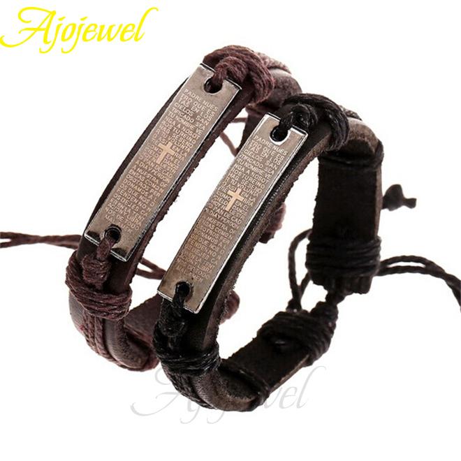 2pcs/lot Christmas Gifts 2014 Men Jewellery 2014 Vintage Leather Bracelet Bangles Men Pulseira De couro(China (Mainland))